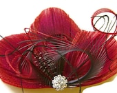 BURGUBDY and SLATE Peacock Feather Bridal Hair Fascinator Clip Red and Gray Hot Wedding Trend Color Combo