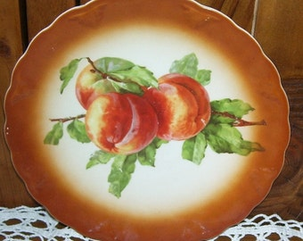 Petrus Regout Maaastrich Holland Bright Orange Peaches on A Porcelain Plate Wall Hanging.