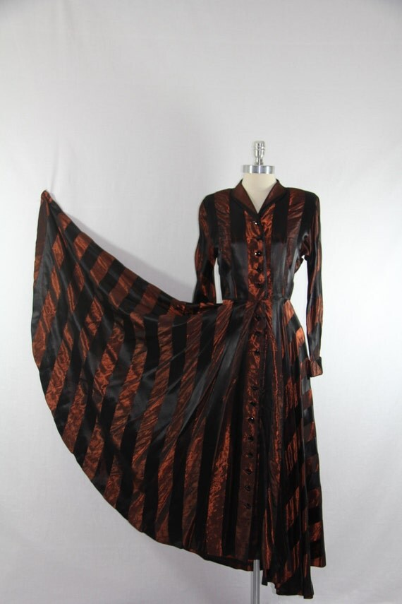 INCREDIBLE Early 1940's Dress - Vintage Satin and Taffeta Wide Striped Black and Bronze Circle Skirt Long Sleeve Frock