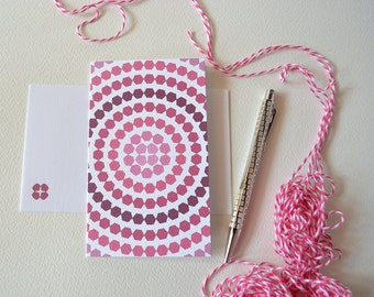 Cranberry Pink Ombre Card with Hexagon Circles