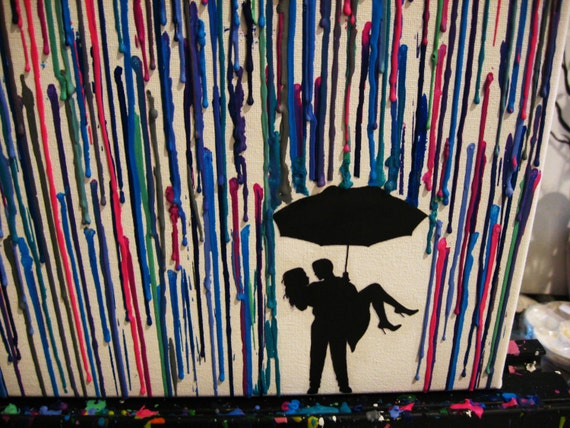 Couple Umbrella Silhouette For Crayon Art Painting - couple standingCouple Silhouette Umbrella Crayon Art