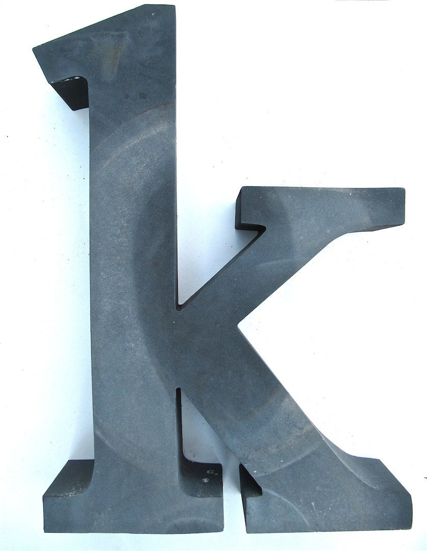 Gray Metal Lower Case Letter K for Home Decor by worldvintage