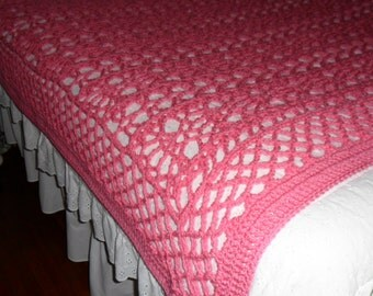 New(Ready to Ship) Crocheted Afghan -  Blanket - Throw - Coverlet- Bedspread  XLarge  ''BOUDOIR''  in Perfect Pink