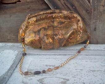 Leather Purse Pocket Book  Handbag Gold Mesh 1980's Vintage Wedding Party