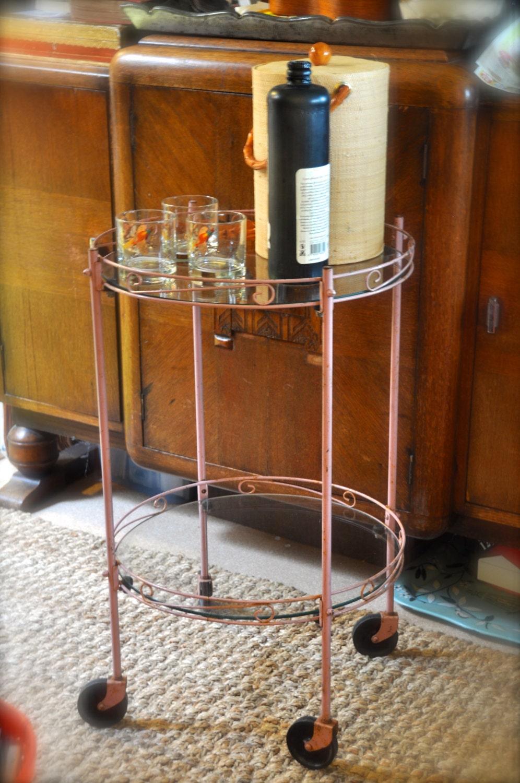 vintage mid century modern atomic pink rolling bar cart cocktails round metal and glass sale. Black Bedroom Furniture Sets. Home Design Ideas