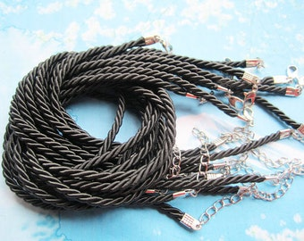 WHOLESALE 50pcs 16-18 inch 3mm BLACK braided silk necklace cords with very strong finish