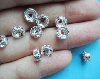 50pcs bright silver class A crystal 6mm round  flat spacer beads