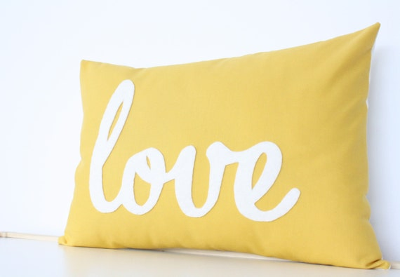 Yellow Love PIllow - Home and Living / Decor and Housewares - by Honey Pie Design
