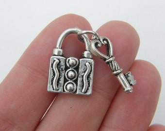 4 Lock with key charms  antique silver tone K94