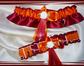 Garnet and Orange Satin Wedding Garter Set Made with Virginia Tech Fabric