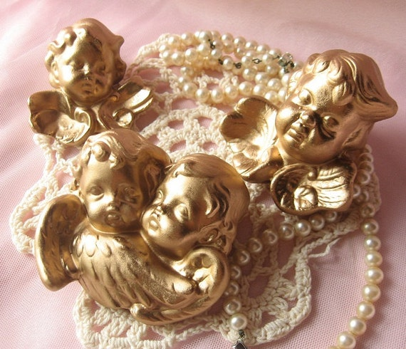 Etsy Gold Wall Decor : Gold leaf angel wall decor pieces set of three painted in
