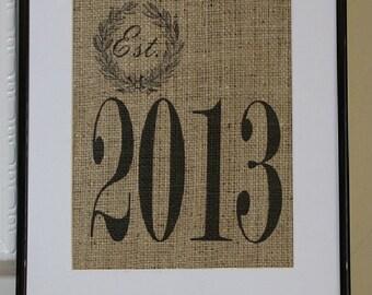 Free US Shipping...Customizable Year Burlap Print...great wedding gift, anniversary gift, birth gift