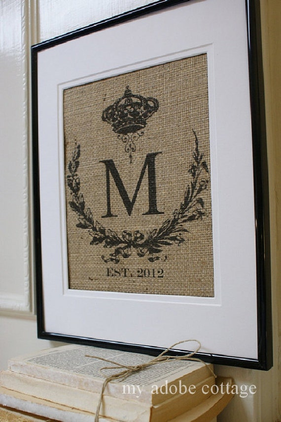 Free US Shipping...Personalized Rustic Wedding Burlap Print