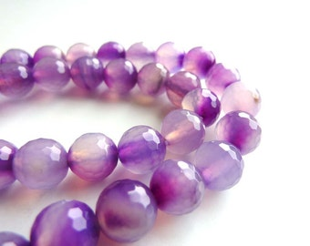 Purple Agate faceted beads - 8mm  - 6 beads
