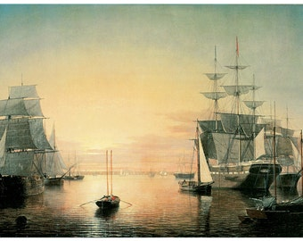 Wooden jigsaw puzzle. BOSTON HARBOR SHIPS. Fitz Hugh Lane. Maritime painting. Wood, handcut, handcrafted, collectible. Bella Puzzles.