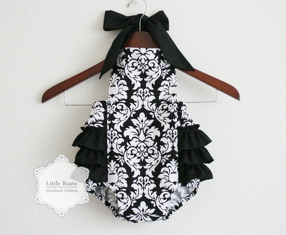 Black and White Damask Retro Style Sunsuit Romper / Size NB, 0-3m, 3-6m, 6-12m, 12-18m and 18-24m