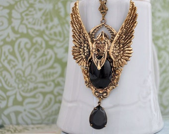 THE FALLEN antiqued brass dark angel necklace with jet black vintage glass cab and jewel