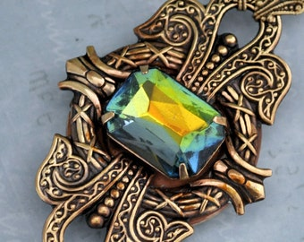 DARK VICTORIAN antiqued brass locket necklace with vintage smoke topaz rainbow color glass jewels