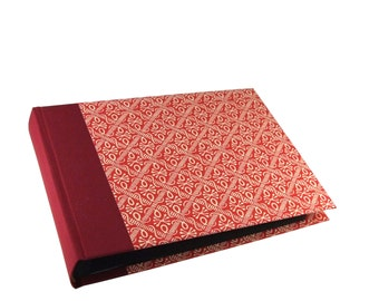 red Photo Album wax batik, family photo album with graphic pattern