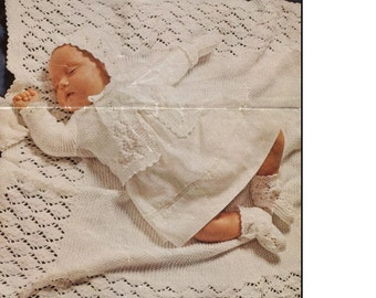 Baby KNITTING PATTERN  - Baby shawl, Coat, Bonnet, Mitts and Booties - 18 in chest
