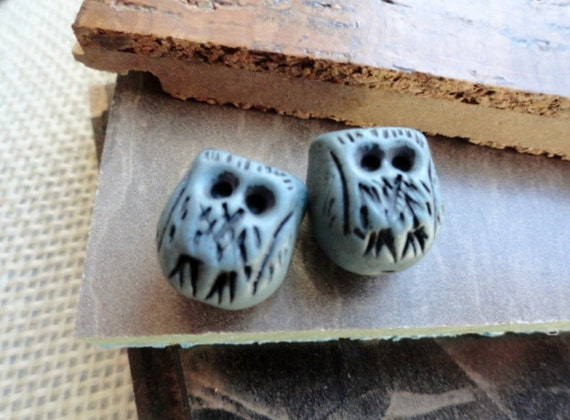 Polymer Clay Owl Beads - Handmade - Tiny Owls