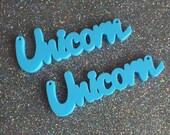 2 x Laser cut acrylic Unicorn pendants