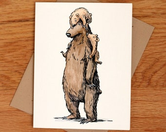 Grizzly Dad, individual Father's Day card.