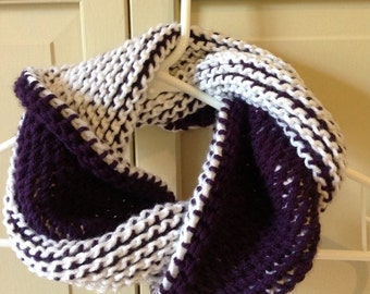 Kid Scarf - Infinity Cowl - Kids Purple and White Two Toned Toddler Infinity Cowl