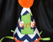 Chevron 1st Birthday Party Hat Made with Lime green and orange Fun circus carnival theme