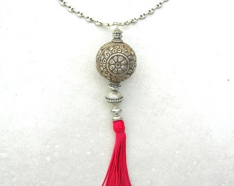 Beautifully Simple Tassel Necklace, Tibetan Repousee Double Fish & Flower Bead, Moroccan Silk Tassel, Sterling Silver Chain,by SandraDesigns