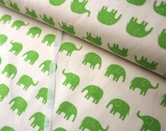 Daiwabo Japan Fabric, Tip Top Elephant Walk Green on white, Cotton canvas, 1/2 Yard