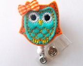 Orange and Turquoise Owl with Bow - Retractable Felt Badge Holder - Name Badge Holder - Peds Badge Reel - Nursing Badge - Nurse Badge Holder