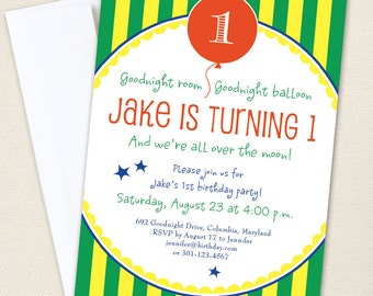 Goodnight Moon Party Invitations - Professionally printed *or* DIY printable