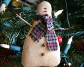 Snowman Ornament Rustic Christmas Decoration Homespun Woodland Winter Decor Primitive Ornie