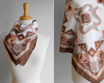 Vintage Ivory and Brown Summertime Aztec Neck Scarf