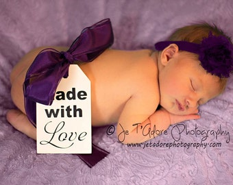 New Born Photo Prop Tag, Maternity Photo Prop Sign. Made with Love.  3 X 5 inches, 1 or 2-sided with a hole and extra long ribbon.