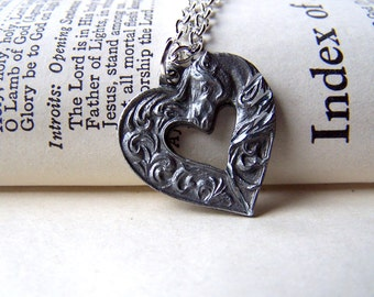 Horse Necklace Horse Jewelry Equestrian Necklace Horse Lovers Pewter Horse on Silver Chain Dressage Equine