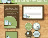 Owl Baby Shower-Party Pack-Printable Party Package - Little Boys Are A Hoot