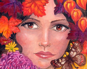 Autumn Four Seasons Series ART PRINT Woman, Leaves, Flowers