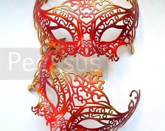 Red and Gold Masquerade Mask (1 Mask) Ballroom masquerade mask for a Mardi Gras, Halloween, Wedding, New year or Costume Party - M1