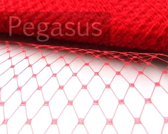 RED French Netting  (sold by the yard) Birdcage Veil Material for DIY Asian blusher veiling, hair accessories and costuming