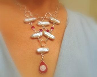 White Biwa pearl and shivas eye bib necklace- statement jewelry - pearl bib necklace - silver plated artisan jewelry
