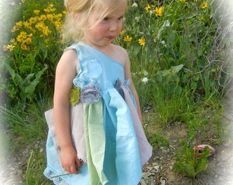 "One of A KinD One Shoulder Girls Hand Dyed Tattered N Torn Fairy Woodland DreSs ""Daisy"""