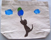dog with balloons - hand painted tote bag