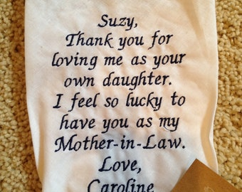 Mother of the Groom LACE SCRIPT Heirloom Personalized Wedding Handkerchief Custom Embroidered