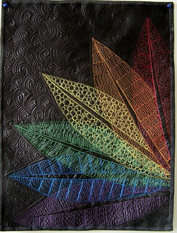 Art quilt fiber art wall hanging Rainbow Leaves