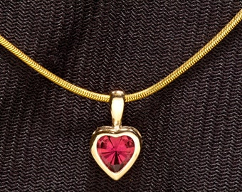 Mother's Day Gift AAA Rubellite Tourmaline Heart Pendant in 14kt Yellow Gold , Heart Necklace & Alternate July birthstone