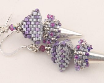 Beading Tutorial for Pointy Earrings, jewelry pattern, beadweaving tutorials, instant download, PDF