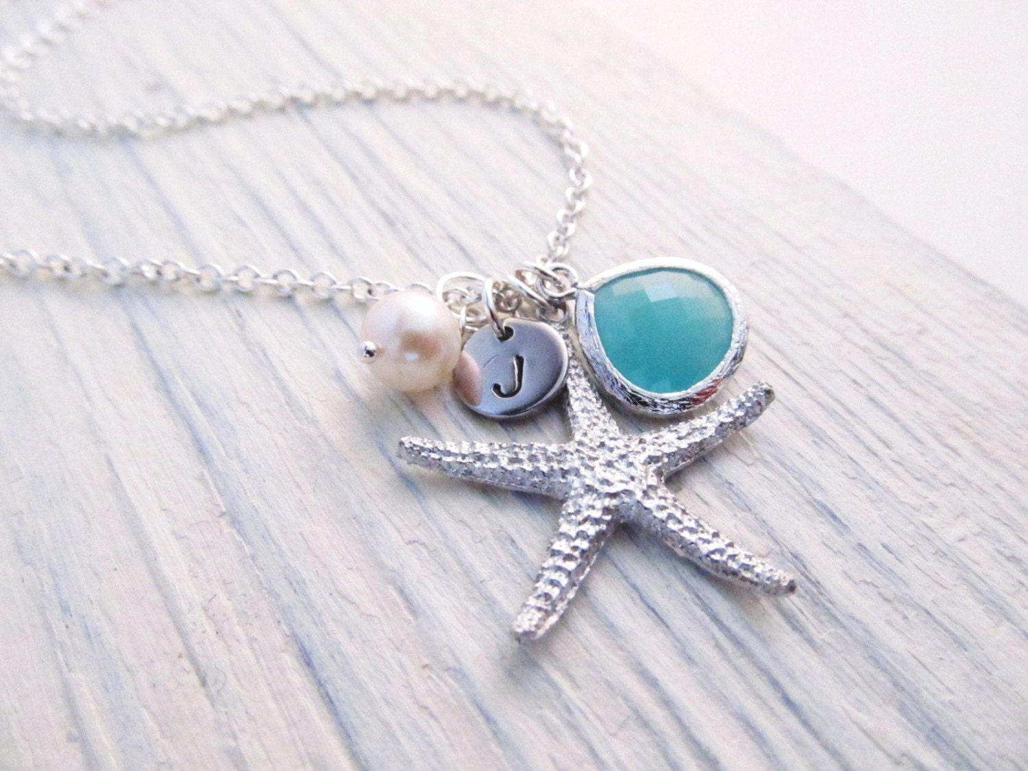 Starfish Necklace Beach Wedding Necklace Personalized