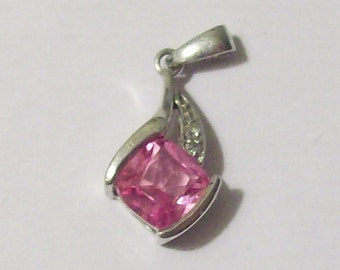 Pink Rhinestone sterling silver pendant